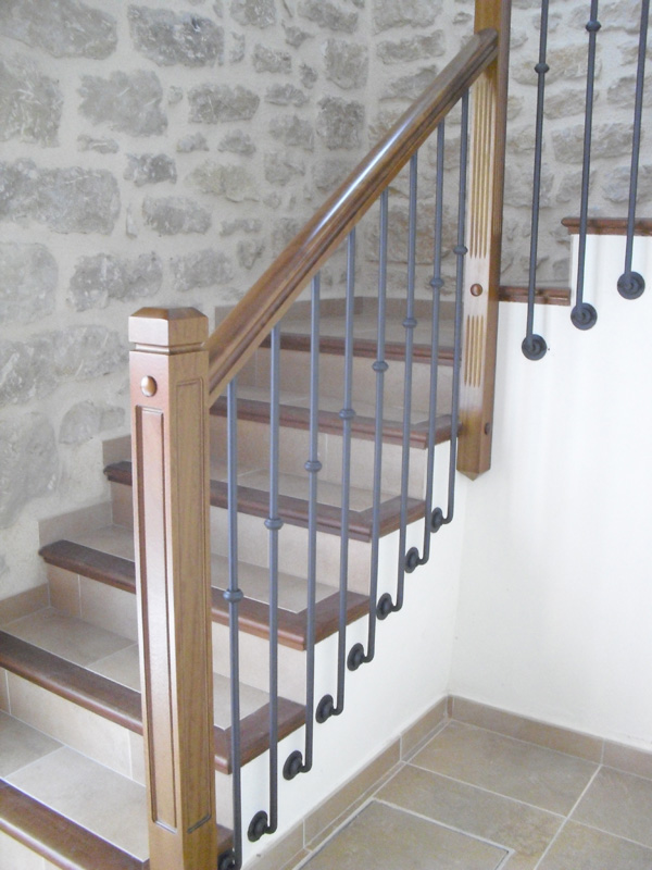 Torneados fuentespalda barandillas y escaleras de madera forja hierro acero inoxidable y - Barandilla cristal escalera ...